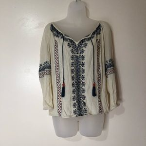 Lucky Brand | Off White Embroidered Tassel Top